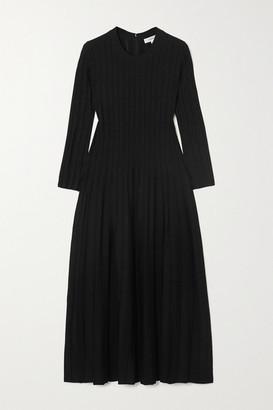 CASASOLA + Net Sustain Ali Ribbed Stretch-knit Midi Dress - Black