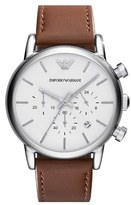 Emporio Armani Chronograph Leather Strap Watch, 41mm