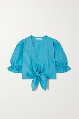 Faithfull The Brand Net Sustain Jamais Cropped Tie-detailed Linen Top - Azure
