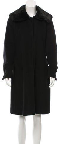 Max Mara Wool Rabbit Fur-Trimmed Coat