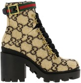 Gucci Lace-up Boots In Gg Supreme Wool With Web Buckle