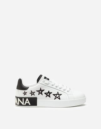 Dolce & Gabbana Calfskin Nappa Portofino Sneakers With Lettering Print