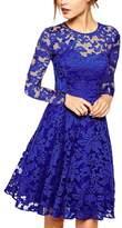 Ruiyige Womens Lace Long Sleeve Crewneck Flare Swing A Line Evening Midi Dress L