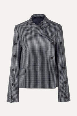 Rokh Button-embellished Houndstooth Tweed Blazer - Gray
