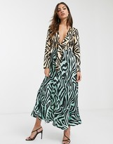 Asos Design DESIGN knot front maxi dress in mixed animal print