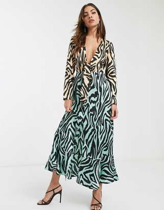 ASOS DESIGN knot front maxi dress in mixed animal print