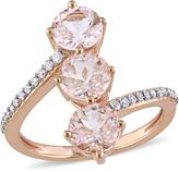 Julianna B 2 2/3 CT TW Morganite and Diamond 14K Rose Gold Stacked 3-Stone Ring