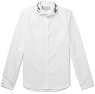 Gucci White Slim-Fit Cutaway-Collar Embroidered Cotton-Poplin Shirt