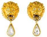 Christian Dior Lion Crystal Door Knocker Clip-On Earrings
