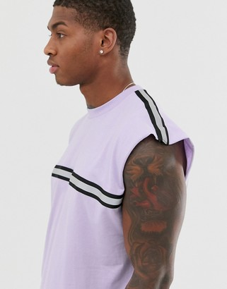 ASOS DESIGN oversized longline sleeveless t-shirt with reflective tape in lilac
