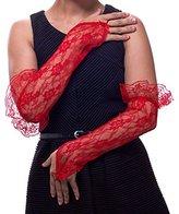 GreatLookz Texas Rosebud Lace Fingerless Gloves with Ruffle