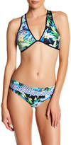 Jets Tropical Print Cross Strap Bikini Top