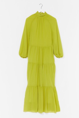 Nasty Gal Womens No More Tiers High Neck Maxi Dress - Green - 4
