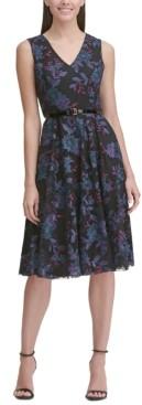 Tommy Hilfiger Belted Embroidered Fit & Flare Dress