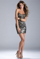 Janique - Sequined Camouflage Strapless Sweetheart Cocktail Dress JQ3314