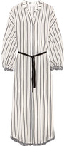 Zimmermann Aerial Tasseled Striped Cotton-voile Dress - Gray