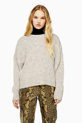 Topshop Oatmeal Knitted Crew Neck Sweater