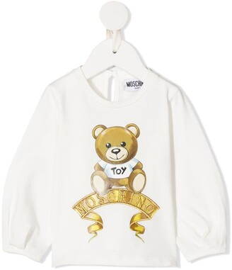 MOSCHINO BAMBINO Embroidered Logo Long-Sleeve Top