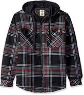 Dickies Men's Quilted Flannel Overshirt With Fleece Hood Tall
