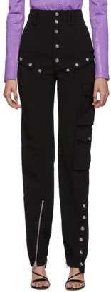 Thierry Mugler Black Button Scuba Trousers
