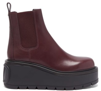 Valentino Uniqueform Leather Platform Chelsea Boots - Burgundy