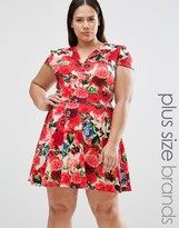 Club L Plus Skater Dress With Open Neck In Floral Print
