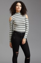 Dynamite Striped Cold Shoulder Mock Neck Top