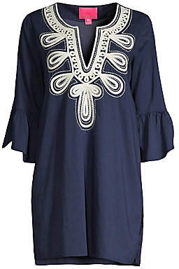 Lilly Pulitzer Women's Piet Embroidered Bell Sleeve Cover-Up