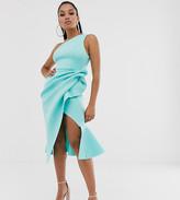 Asos DESIGN Petite one shoulder tucked peplum pencil midi dress