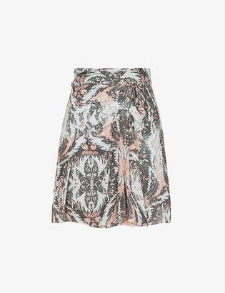 Reiss Ariella paisley-print silk-blend skirt