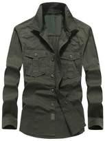 Hzcx Fashion Men's Military Cotton Turn Down Collar Long Sleeve Pockets Shirts 20170303-1591-69-KH-US L TAG 3XL
