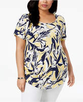 JM Collection Plus Size Abstract-Print T-Shirt, Created for Macy's