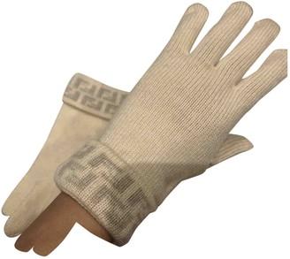 Fendi Beige Wool Gloves