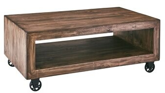 Thumbnail for your product : Loon Peak Claunch Solid Wood Wheel Coffee Table with Storage