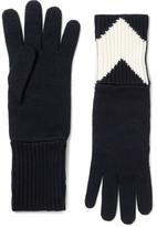 Moncler Gamme Bleu Ribbed Chevron Intarsia Wool Gloves
