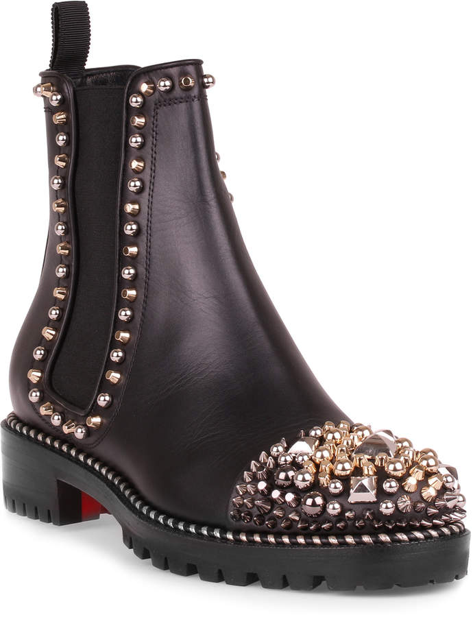 Christian Louboutin Chasse a Clou black leather boot