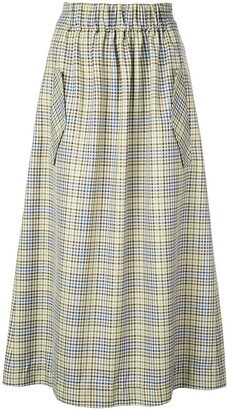 Tibi Checked Midi Skirt