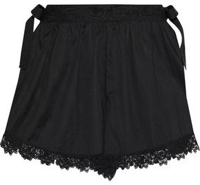 RED Valentino Lace-trimmed Cotton-voile Shorts
