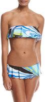 Emilio Pucci Libellula Ruffled Two-Piece Bikini Set, Blue Pattern