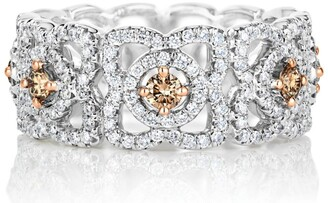 De Beers White Gold Fancy Coloured Enchanted Lotus Band