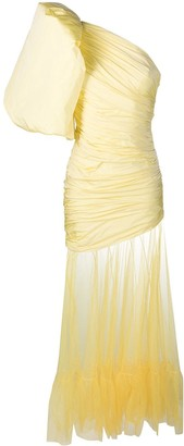 Giuseppe di Morabito Ruched One-Sleeve Tulle Skirt Gown