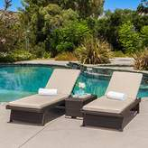 Marbella Outdoor 3 Piece Dark Brown Wicker Chaise Lounge and Table Set with Sand Sunbrella Cushions