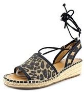 Franco Sarto Liona Women Open Toe Canvas Multi Color Wedge Sandal.