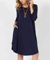 Navy Three-Quarter Sleeve Side-Pocket Swing Tunic Dress