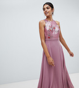 Little Mistress Tall sequin top full midi prom dress