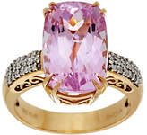QVC Elongated Cushion Kunzite & Diamond Ring 14K Gold 8.00 ct