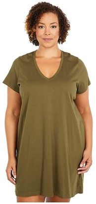 Madewell Plus Size Northside Vintage V-Neck Tee Dress (Kale) Women's Clothing