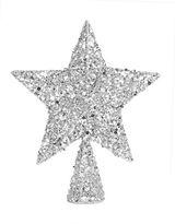 Glucksteinhome Starry Starry Night Sequin Star Silvertone Tree Topper