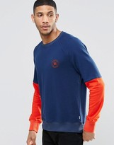 Converse Colour Block Crew Fleece In Blue 10003126-A01