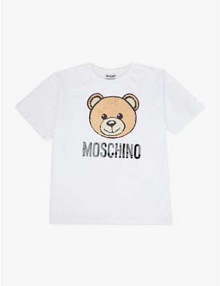 Moschino Sequin bear stretch-cotton T-shirt 4-10 years